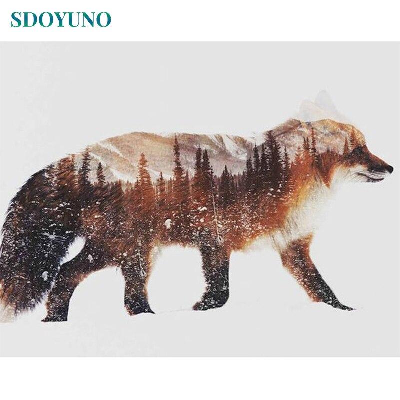 SDOYUNO 60x75cm sayılar tarafından boyama kar tilki DIY dijital boyama çerçevesiz tuval üzerine sayılar boya ev dekor