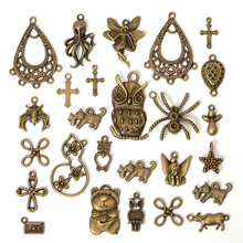 50/100gram Mixed Charms Pendants Antique Bronze Metal Charms Accessories for Jewelry Making Bracelet Necklace Crafts DIY 50g 100g mixed flower petal metal charms pendants vintage antique bronze silver bracelets necklace for diy jewelry making craft