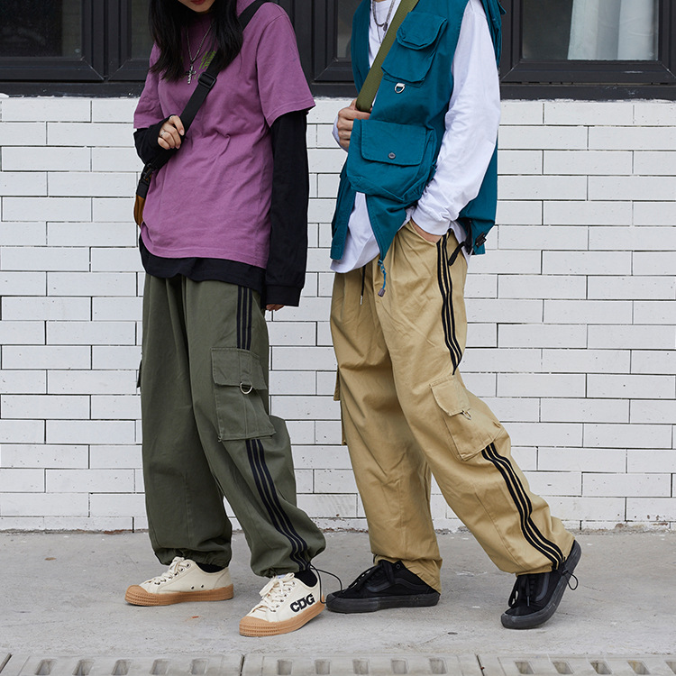 Cargo-Trouser Harem-Pants Vintage Joggers Streetwear Loose Side-Stripe Straight Casual