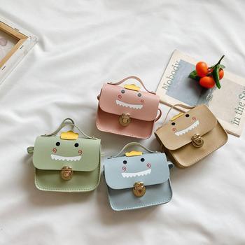 Dzieci dzieci PU skórzane portmonetki mały uroczy cukierki dinozaur kreskówka portfel dziewczyny torba na ramię tanie i dobre opinie 316819 12cm Animal prints Na co dzień Poduszki WOMEN Waist pack