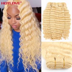 Перуанские 613 блонд свободные глубокие волнистые пучки с кружевной фронтальной застежкой Remy 8-28