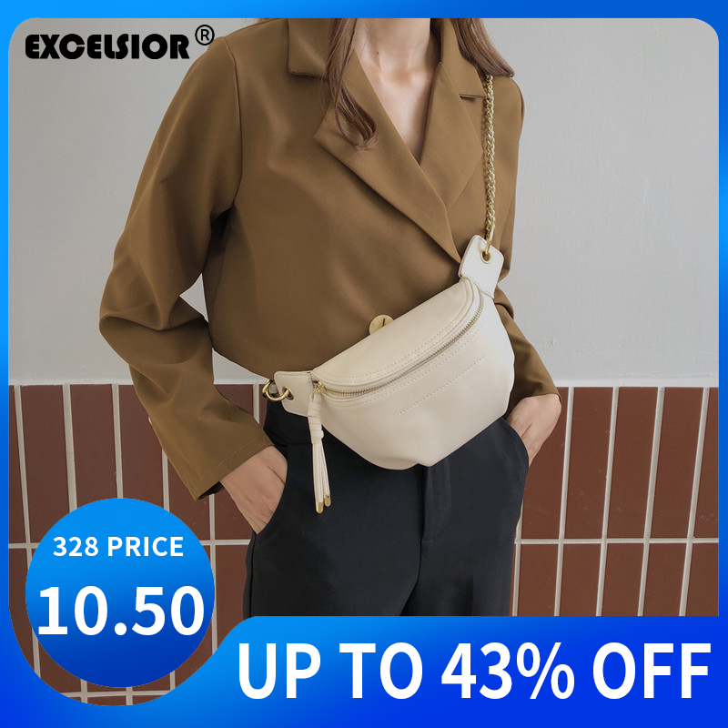 EXCELSIOR 2020 New Fanny Pack Women Waist Pack PU Leather Ashion Bum Pouch Phone Leather Chest Packs For Female Bolso Mujer
