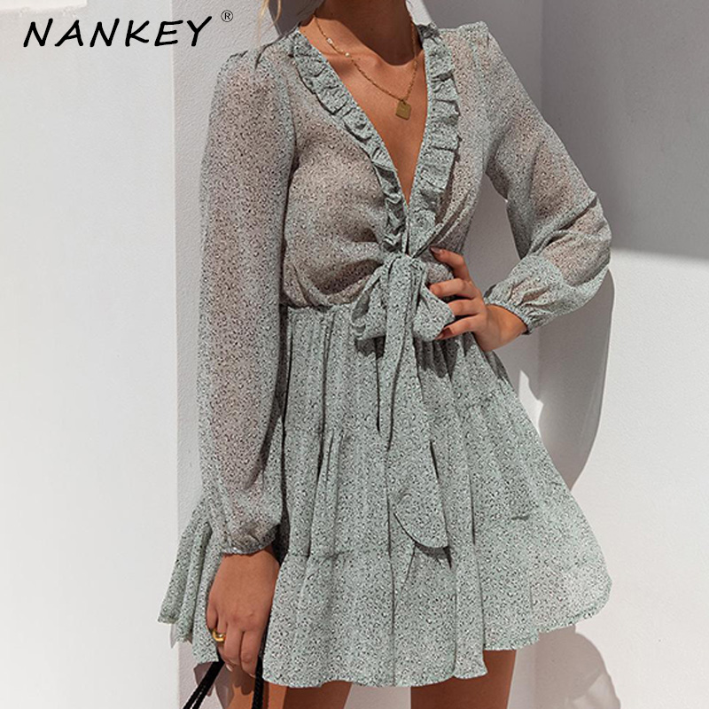 NANKEY Ruffles Neck Green Floral Print Women Holiday Dress Sweet Rural V Neck Hidden Button Dress Ladies Beach Party Vestidos
