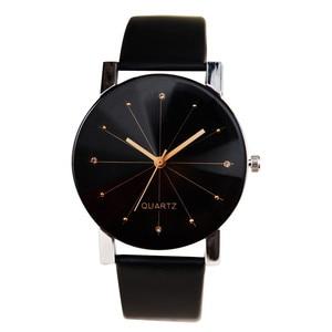 Men Women Leather Strap Line Quartz Watch reloj inteligente mujer Clock Fashion Ladies Analog Wristwatch Relogios Masculino Gift(China)