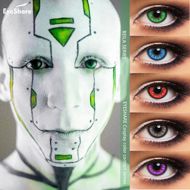 EYESHARE 1 Pair (2pcs)  Beila Color Cosplay Contact Lens for Eyes Halloween Cosmetic Contact Lenses  Eye Color