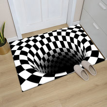 3D Vortex Illusion Carpet Entrance Door Floor Mat Abstract Geometric Optical Doormat Non-slip Floor Mat Living Room Decor Rug