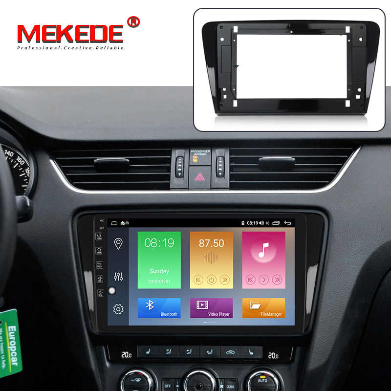 MEKEDE-Marco de DVD para coche adaptador de conexión de Audio, embellecedor de tablero, Panel Facia de 10 pulgadas para SKODA Octavia 2013-2018, Radio Play de doble Din
