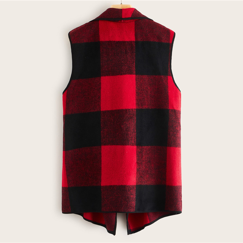 SHEIN Multicolor Waterfall Collar Gingham Vest Coat Women Outwear 2019 Autumn Sleeveless Open Front Office Laidies Casual Coats 2