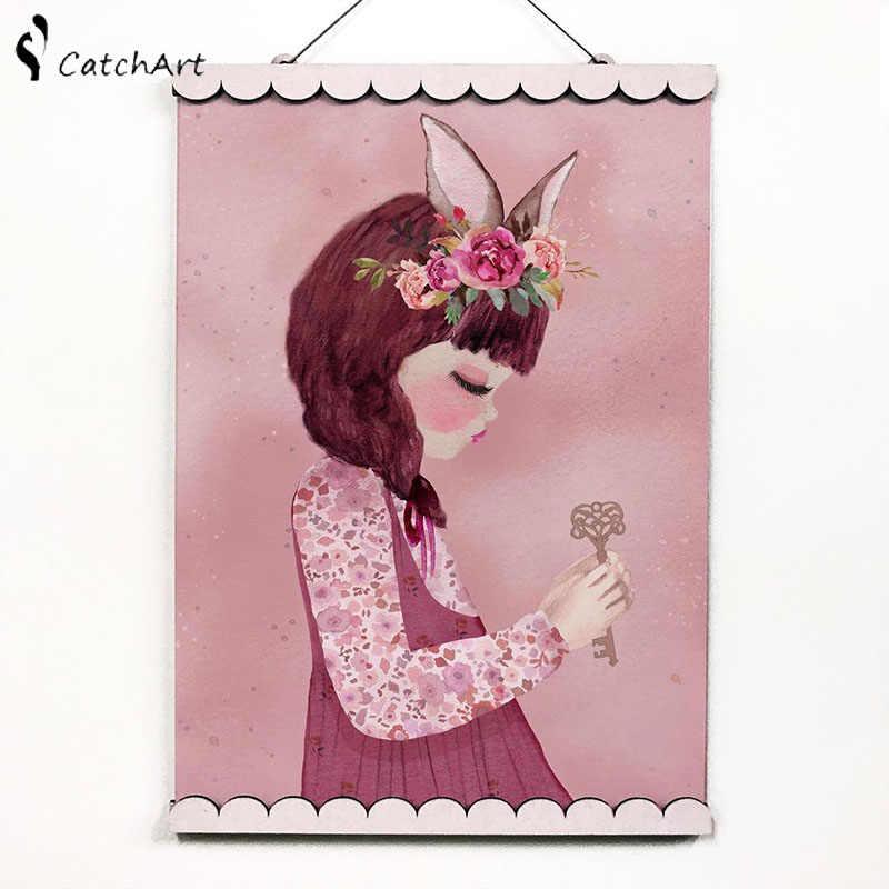 Nordic Merah Muda Kartun Watercolor Bunga Kelinci Gadis Elf Hewan Unicorn Swan Poster Kanvas Lukisan Dinding Gambar Dekorasi Kamar Anak