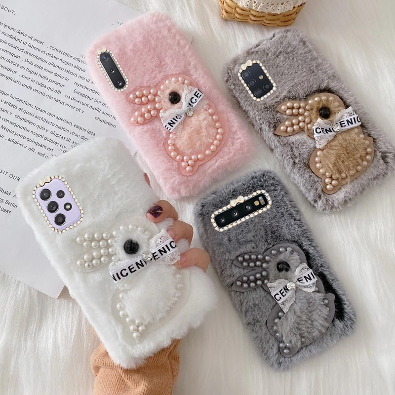 For Samsung Galaxy A52 A51 Plush Bunny Cover A72 M01 M11 S8 S10 S20 S21 S10 Note 10 Plus Lite Ultra Cute Pearl Bunny Phone Case