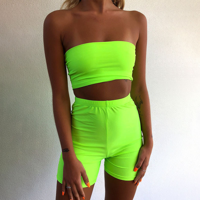 Leopard Print Two Piece Set with Fringe Crop Top And Bike Shorts in Green