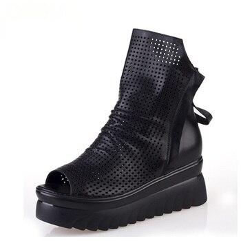 2020 Summer Black Genuine Leather Ankle Boots for Women Platform High Heel Wedge Sandal Booties Summer Shoes Woman Botas