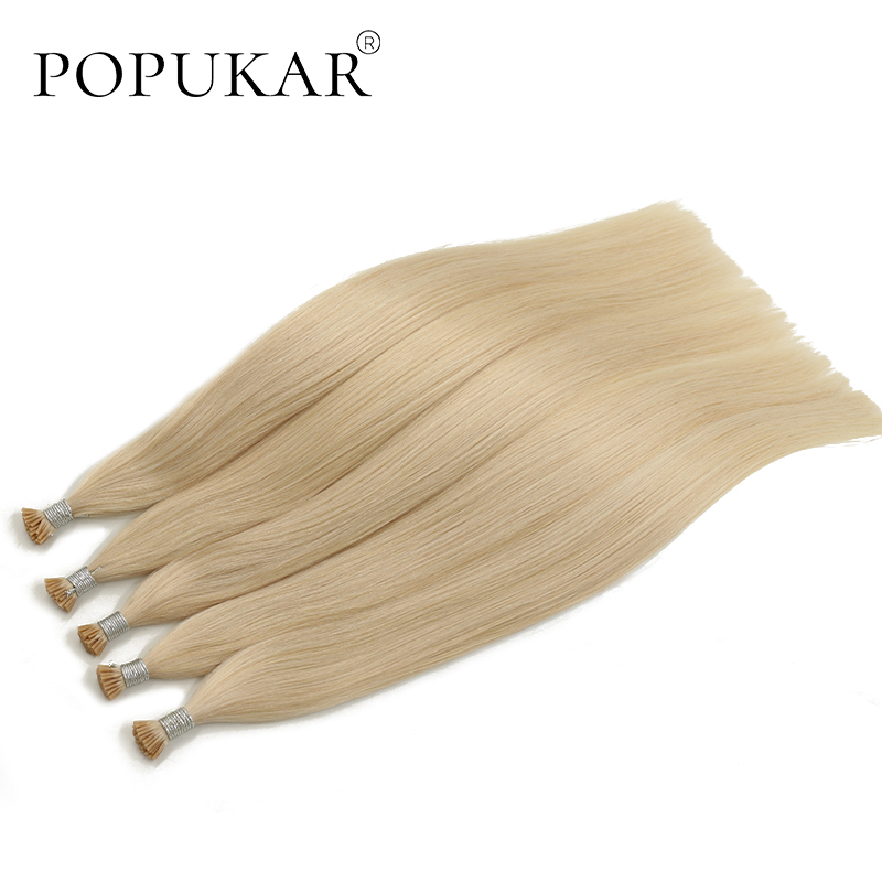 Popukar Platinum Blonde I Tip Stick Keratin Hair Extensions Pre Bonded Remy Fusion Hair 40g 22inch Straight 100% Human Hair