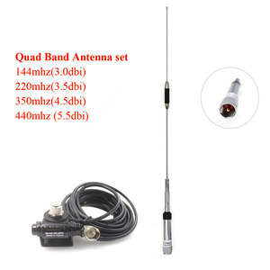 High Gain 100cm Quad Band Antenna Set 144/220/350/440MHz for QYT KT 7900D with RB400  Clip Car Mount + 5M Cable|Communications Antennas| |  -