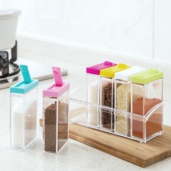 Пластиковые банки для приправ с крышкой для специй, контейнеры для хранения сахара, кухонные коробки для хранения, аксессуары для дома