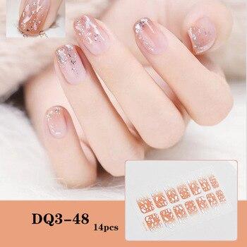 14pcs/sheet Glitter Gradient Color Nail Stickers Nail Wraps Full Cover Nail Polish Sticker DIY Self-Adhesive Nail Art Decoration 32