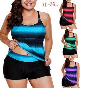 Wipalo Plus Size Bathing Suit Women Color Block Striped Tankini Swimsuits Two Piece Tankini Sets For Fat Women Shorts Bikini 5XL(China)