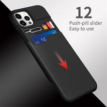 Wowcase財布iphone 12プロマックスケースビジネスハイブリッドスライド電話カバーiphone 11 x xs xrカードホルダーcoque funda