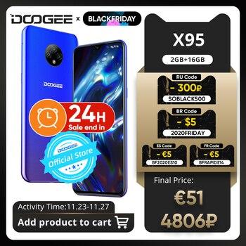 Купить DOOGEE X95 смартфон с 5,5-дюймовым дисплеем, процессором MTK6737, ОЗУ 16 ГБ, ПЗУ 16 ГБ, 13 МП, Android 10, 6,52 мАч