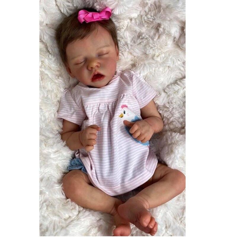 45CM Reborn Puppen Premie Baby Neugeborenen Puppe Nette Baby Mädchen Hand Malerei Echten Weichen Touch Kuschelig Baby Zum Sammeln Kunst puppe