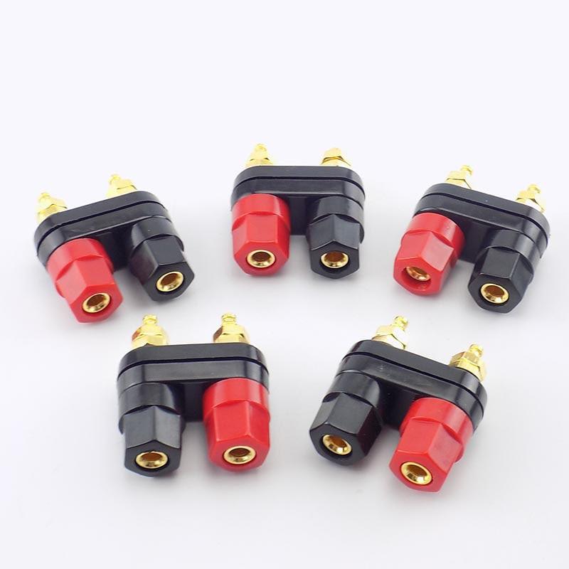 4mm Dual Banana Plugs Couple Terminals Plug Jack Socket Binding Post Red Black Connector Amplifier Speaker DIY Adapter A7