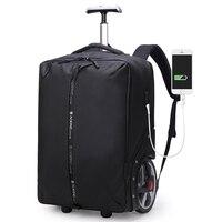17 zoll Laptop rucksack USB Lade Wasserdichte Gepäck Männer Reise trolley tasche Rucksack Männer Tragen-auf Rad Roll Koffer