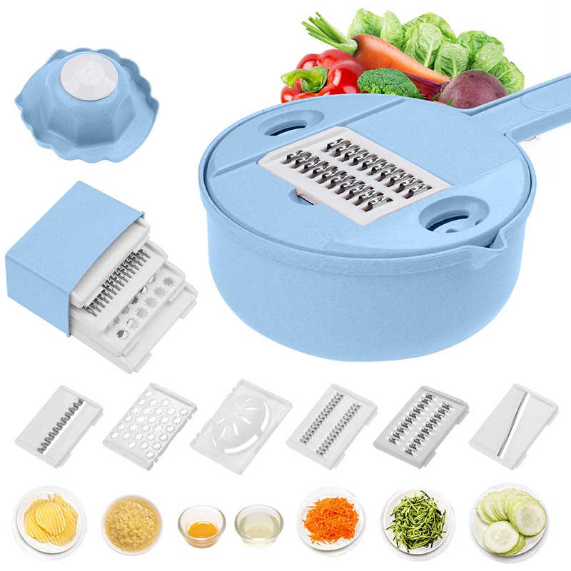 Mandoline slicer cutter chopper vegetable cutter grater Round kitchen Multifunction shred grater fruit peeler Wash Leaking basin