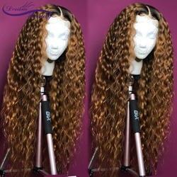 Парики из натуральных волос на кружевном фронте 1B/27 с волнистыми волосами, предварительно сорванными, Омбре, бразильские парики Remy Bleach Knots