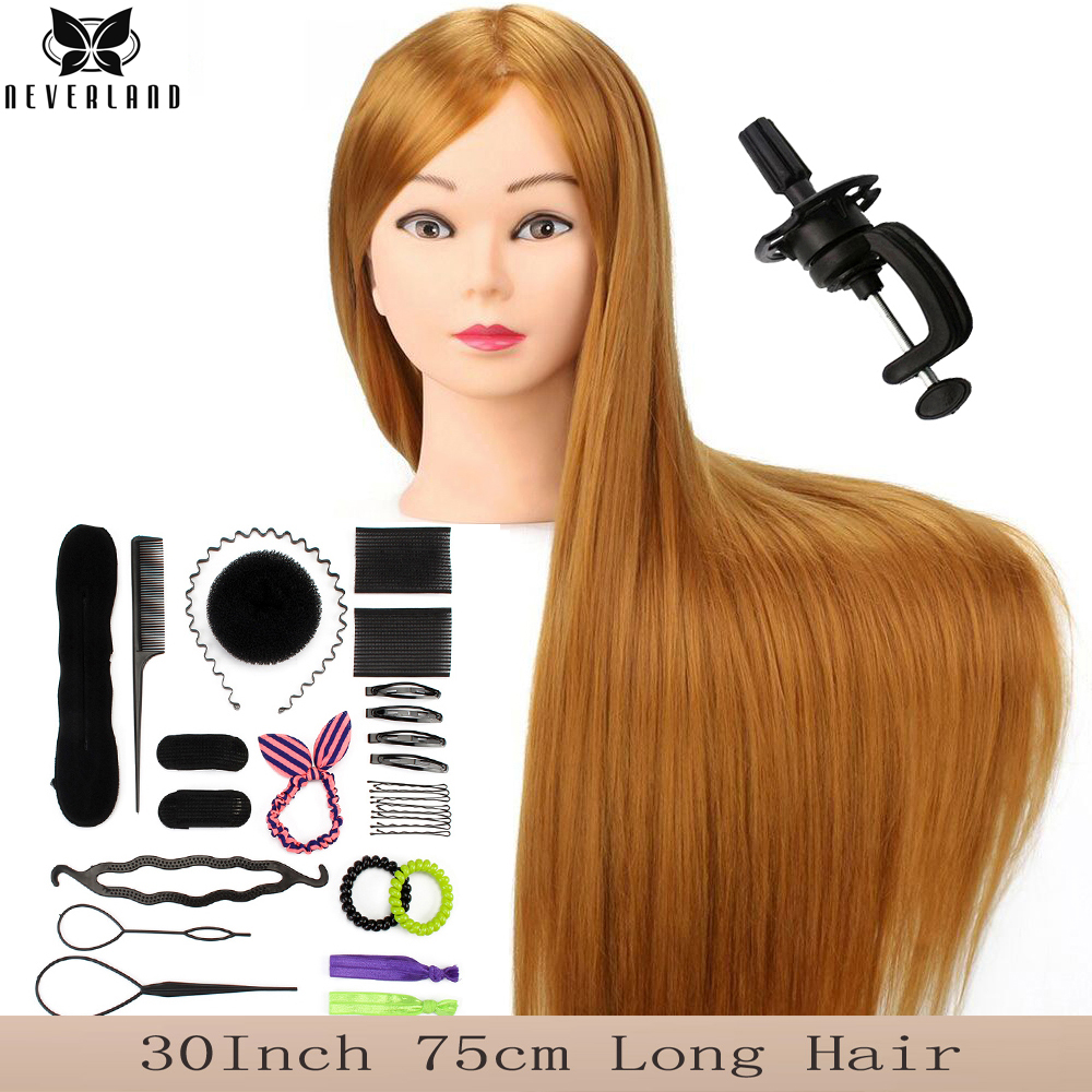 75CM Long Hair Mannequin Head For Hairstyles Hairdressing Training Head Model For Wig + Comb Women Educational Hairdresser