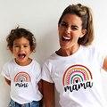 Mode Familie Aussehen Mutter und Tochter Familie Passenden Kleidung Punk Mama Mini Prinzessin T-shirt Tops Für Mama Kinder