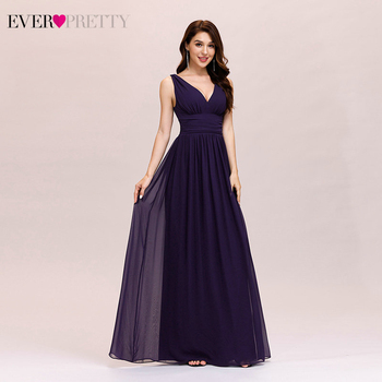 Purple Bridesmaid Dress Plus Size Ever Pretty A Line V Neck Chiffon Elegant Long Dress For Wedding Party For Woman 2020 EP09016 pink bridesmaid dresses plus size ever pretty elegant a line v neck short sleeve chiffon long wedding party dress women vestidos