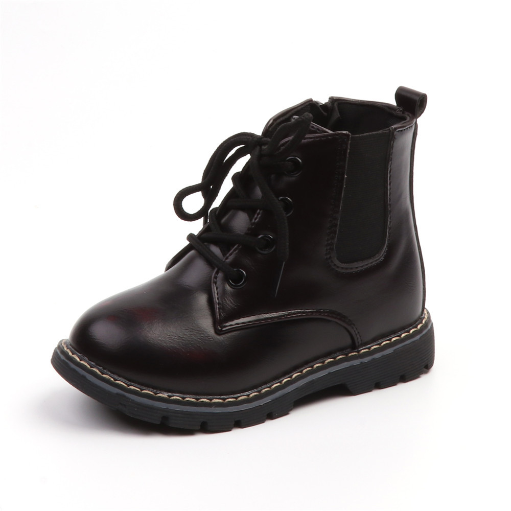 2019 New Kids Martin Boots Baby Boys Waterproof Fashion Children Boots Winter Autumn Shoes Boys Toddler 1 2 3 4 5 6 Years Black