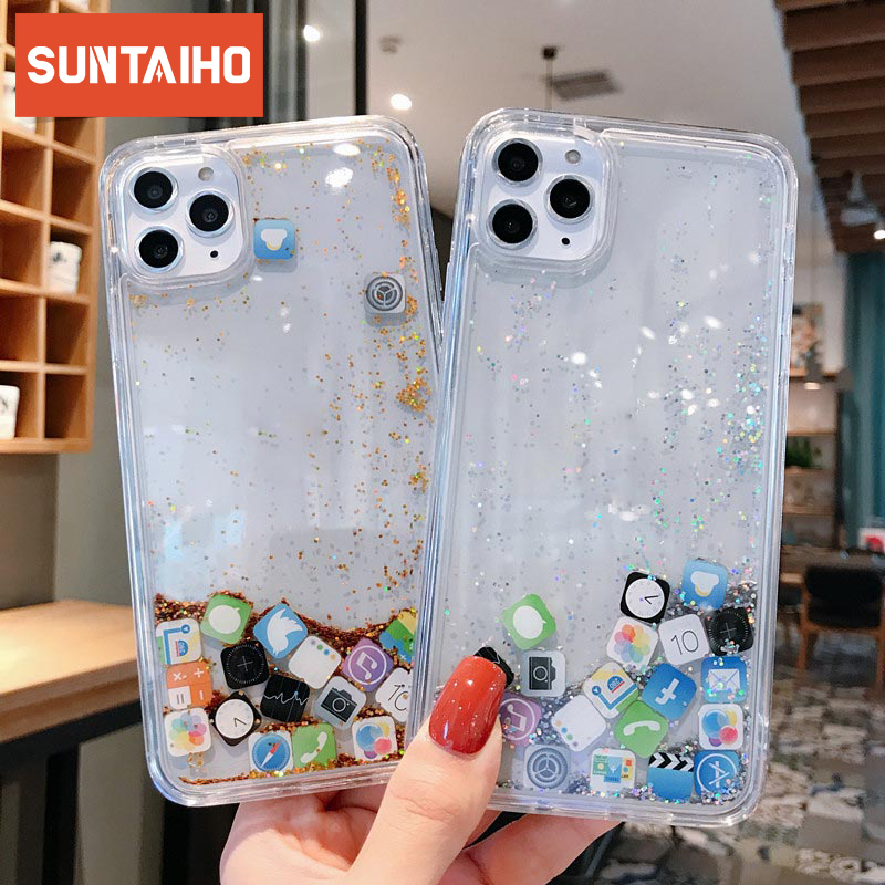 luxury Dynamic liquid Glitter Phone Case For iPhone 11 Pro X XR XS MAX 7 8 Quicksand Cover APP icon Case For iPhone 6 6s 7 8Plus image