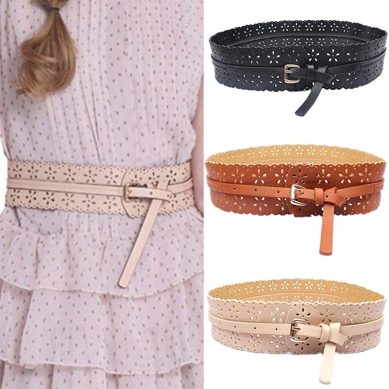 1pc Womens Faux Leather Buckle Waist Belt Hollow Flower Wide Waist Belt Waistband