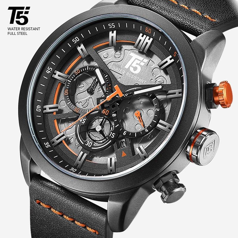 AAA T5 Brand Luxury Male Watch Man Military Quartz Sport Wrist Watch Men Chronograph Waterproof Mens Watches Sport Wristwatch(China)