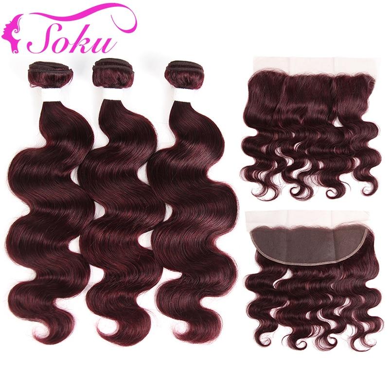 99J/Burgundy Body Wave Bundles With Frontal 13x4 SOKU Brazilian Human Hair Weave Bundles With Closure SOKU Non-Remy Hair
