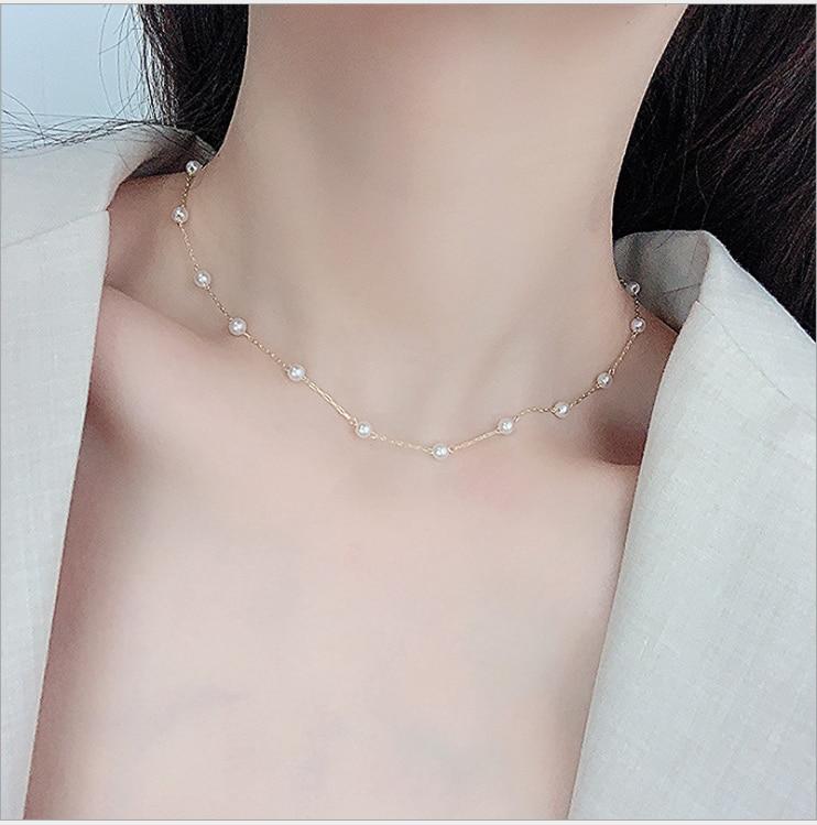 Простое темпераментное жемчужное ожерелье с электрографом ожерелье ошейник любовь блестящая Милая Маргаритка женский подарок высокие юве...