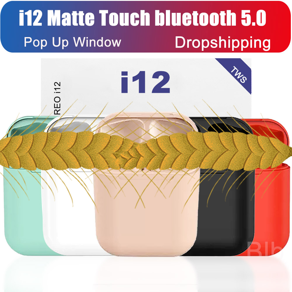 i12 tws 2019 original matte bluetooth earphone ear headphone bluetooth 5.0 Touch Pop up wireless headset sport for smart phones