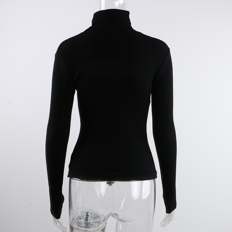 Ribber Knitted Turtleneck Top Women Hollow Out Casual Long Sleeve - tops-tees