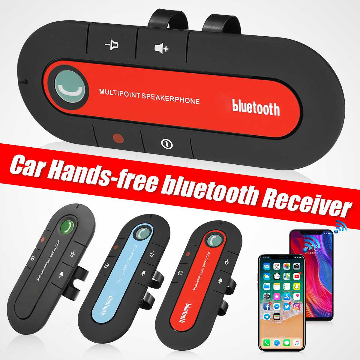 bluetooth Handsfree Car Kit Sun Visor Clip Audio Adapter Wireless Receiver Multipoint Speakerphone Auto Stereo Mp3 Player image