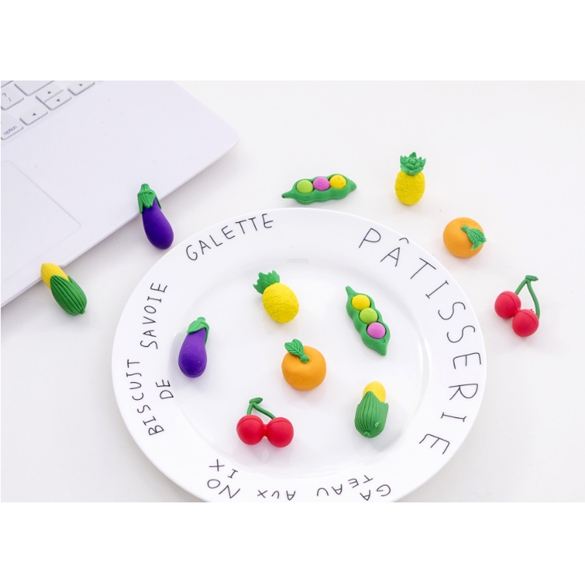 6pcs set Fruit And Vegetable Eraser Mini Stationery Office Christmas Gift Children Safe Nontoxic in Eraser from Office School Supplies