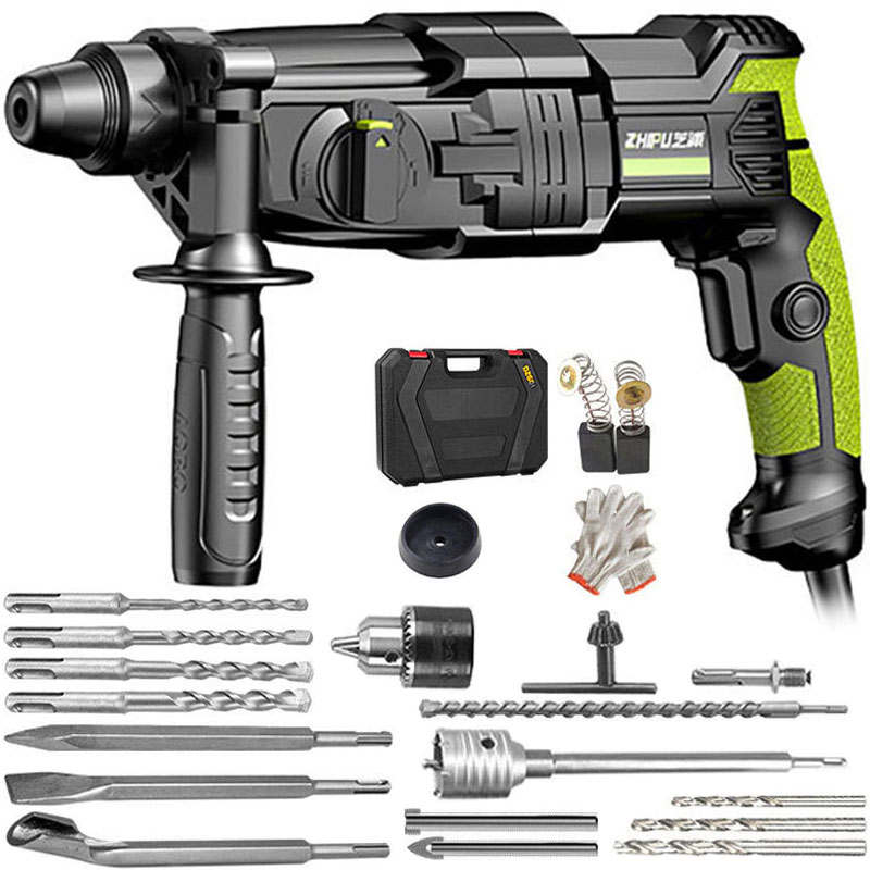 220V Electric Hammer Electric Impact Drill Power Heavy Duty Rotary Hammer Vibration Control Safety Clutch With Drill Accessories