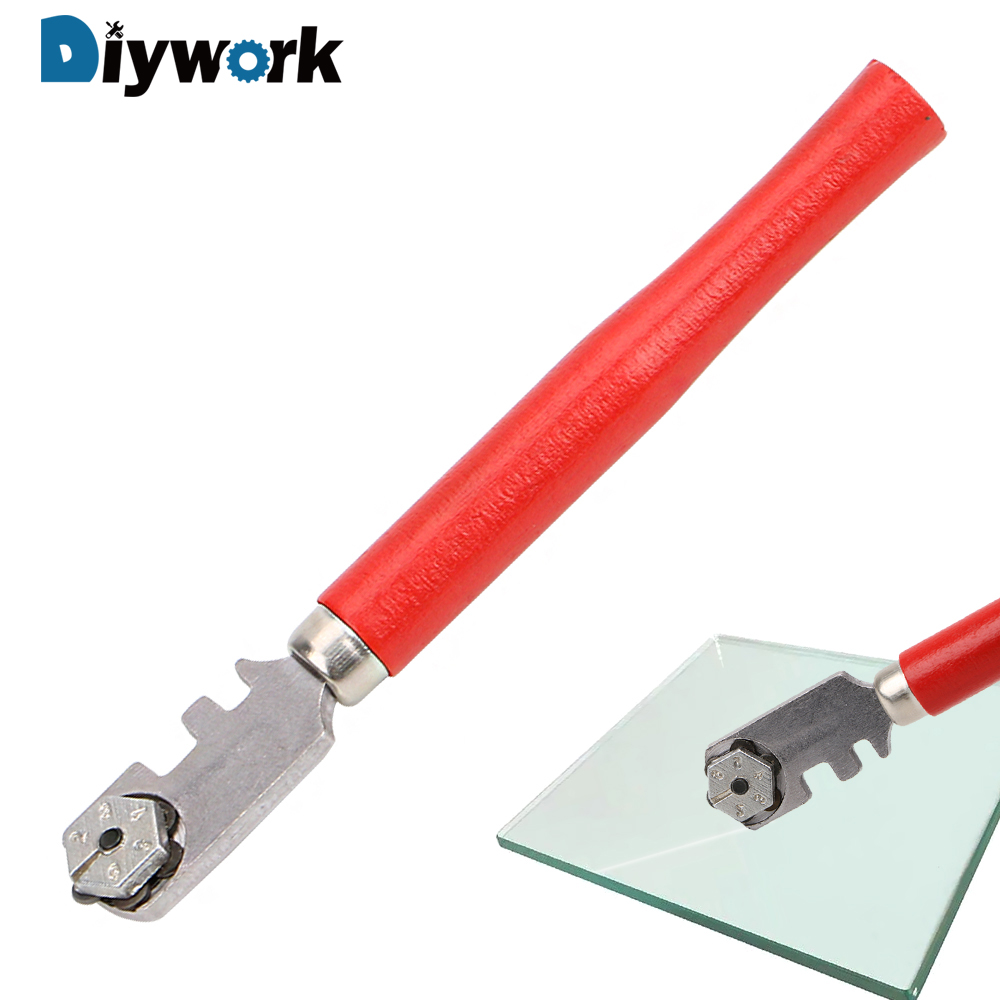 DIYWORK 130mm Wooden Handle Diamond Tipped Professional Glass Tile Cutter Portable Glass Cutter