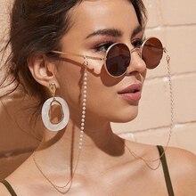 Модная цепочка для очков имитация жемчуга бисером Модные женские повседневные уличные солнцезащитные очки ожерелье подарок маска затягив...