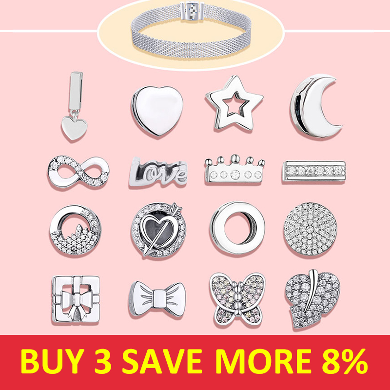 Hot Sale 925 Sterling Silver Sparkling CZ Stars Love Charms Suitable For Box Chains Fit Original Pandora Original Reflection