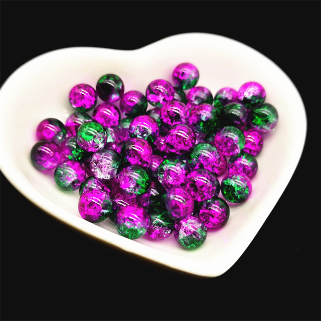 50pcs 8mm Double Colored Cracked Beads Spacer Beads For Jewelry Making Handmade DIY