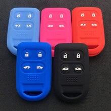Silicone de borracha chave capa caso escudo protetor para honda odyssey 2005-2010 stepwgn 4 6 botão chave