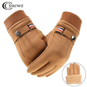 Winter Men's Gloves Suede Keep Warm Touch Screen Windproof Driving Guantes Thick Cashmere Anti Slip Outdoor Male Leather - discount item  35% OFF Gloves & Mittens