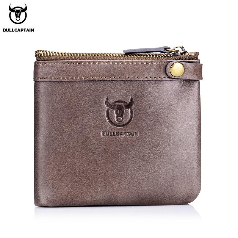 BULLCAPTAIN Leather Wallet Men's Zipper Wallet Men's Wallet Purse RFID Mini Wallet And Smart Design Zipper Buckle Wallet