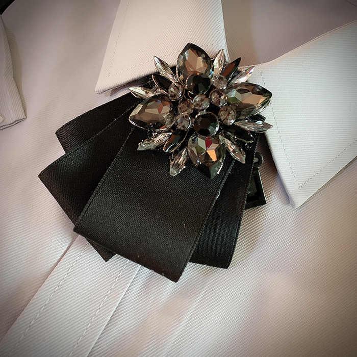 Kokarda z kryształami krawat męskie Unisex prezenty brytyjski garnitur Tuxedo fryzjer bankiet ślubny akcesoria biżuteria koreański wysokiej klasy krawat